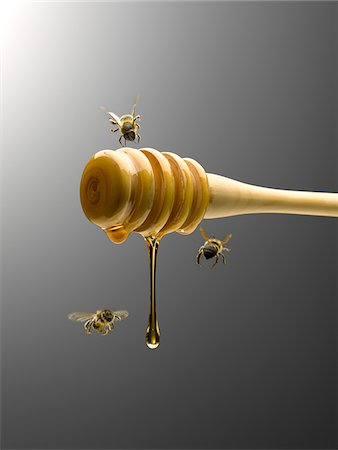 Bees flying around honey dipper dripping with honey Stock Photo - Premium Royalty-Free, Code: 635-03685739