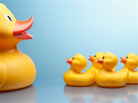 Mother rubber duck and several rubber ducklings Stock Photo - Premium Royalty-Free, Code: 635-03716315