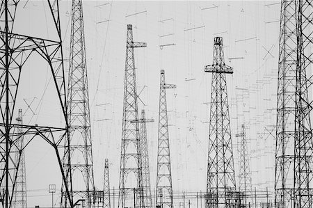 silhouette black and white - Electricity towers, Howick, Northumberland, United Kingdom Stock Photo - Premium Royalty-Free, Code: 635-03752765