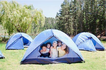 Kids in tent Stock Photo - Premium Royalty-Free, Code: 635-03860176