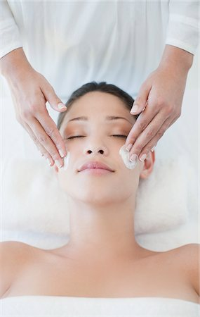 facial - Woman receiving facial massage Stock Photo - Premium Royalty-Free, Code: 635-03860382