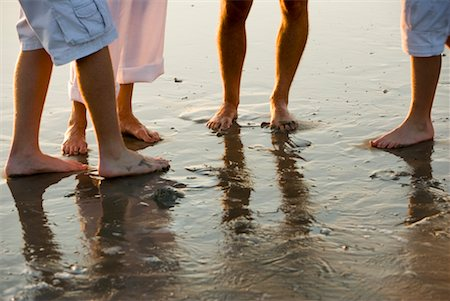 Close-up of bare feet of a family of four standing on wet sand on beach Stock Photo - Premium Royalty-Free, Code: 638-01584075