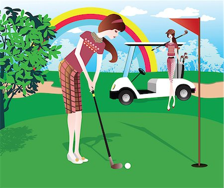 Two women playing golf Stock Photo - Premium Royalty-Free, Code: 630-06724034