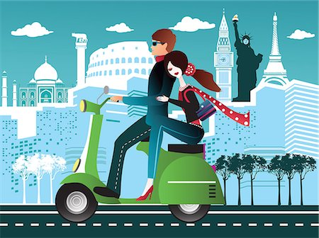 Couple riding a scooter with some international tourist attractions in the background Stock Photo - Premium Royalty-Free, Code: 630-06724068