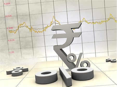 Indian currency symbol with line graph Stock Photo - Premium Royalty-Free, Code: 630-06724077