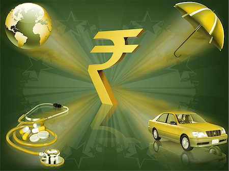 Indian rupee symbol with stethoscope, car, umbrella and world globe Stock Photo - Premium Royalty-Free, Code: 630-06724073