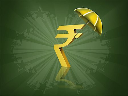 Indian rupee symbol covered by an umbrella Stock Photo - Premium Royalty-Free, Code: 630-06724089