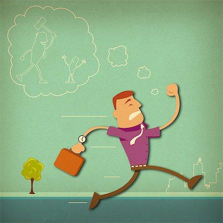 Businessman running Stock Photo - Premium Royalty-Free, Code: 630-06724106