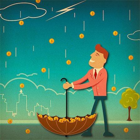 Businessman under money shower Stock Photo - Premium Royalty-Free, Code: 630-06724122