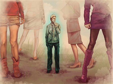Man standing with women around him Stock Photo - Premium Royalty-Free, Code: 630-06724228