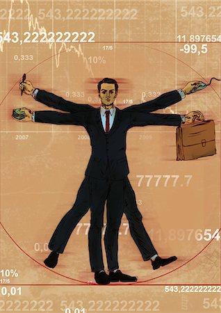 represented - Businessman representing Leonardo da Vinci's Vitruvian Man Stock Photo - Premium Royalty-Free, Code: 630-06724250
