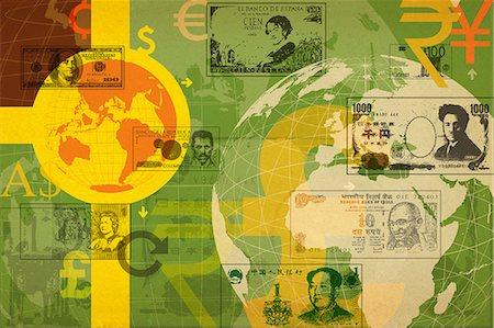 Illustrative representation of global currency Stock Photo - Premium Royalty-Free, Code: 630-06724338