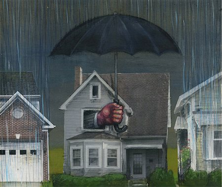 House covered with an umbrella Stock Photo - Premium Royalty-Free, Code: 630-06724417