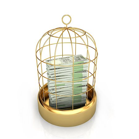 Close-up of money in birdcage Stock Photo - Premium Royalty-Free, Code: 630-06724420