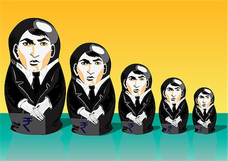 five - Russian nesting dolls with businesspeople theme Stock Photo - Premium Royalty-Free, Code: 630-06724439