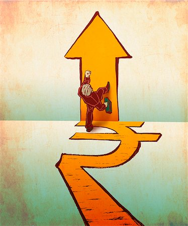Businessman walking on rupee and arrow signs Stock Photo - Premium Royalty-Free, Code: 630-06724445