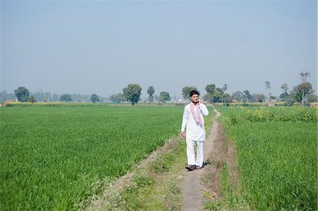 farm phone - Farmer talking on a mobile phone in the field, Sonipat, Haryana, India Stock Photo - Premium Royalty-Free, Code: 630-06724651