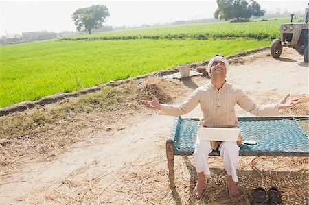 farm phone - Farmer with his arms outstretched in the field, Sonipat, Haryana, India Stock Photo - Premium Royalty-Free, Code: 630-06724668