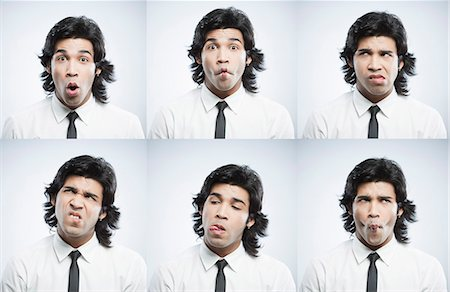 east indian (male) - Multiple images of a businessman with funny facial expressions Stock Photo - Premium Royalty-Free, Code: 630-06724711