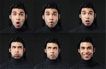 east indian (male) - Multiple images of a man with different facial expressions Stock Photo - Premium Royalty-Free, Code: 630-06724760