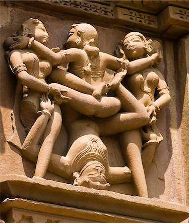 erotic female figures - Sculptures on a temple, Kandariya Mahadeva Temple, Khajuraho, Chhatarpur District, Madhya Pradesh, India Stock Photo - Premium Royalty-Free, Code: 630-06721825