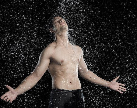 east indian (male) - Bare chested man splashed with water Stock Photo - Premium Royalty-Free, Code: 630-06722701