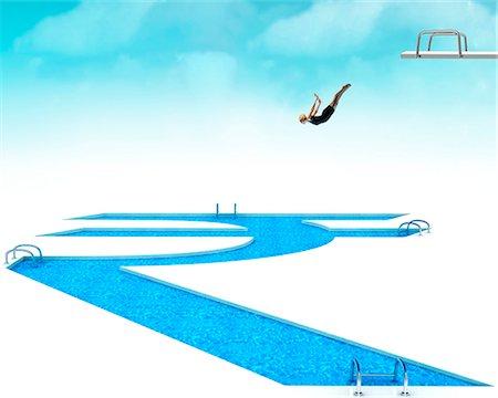 Woman jumping into Rupee symbol pool Stock Photo - Premium Royalty-Free, Code: 630-06723526