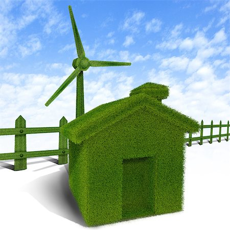 Green home with a wind turbine Stock Photo - Premium Royalty-Free, Code: 630-06723648