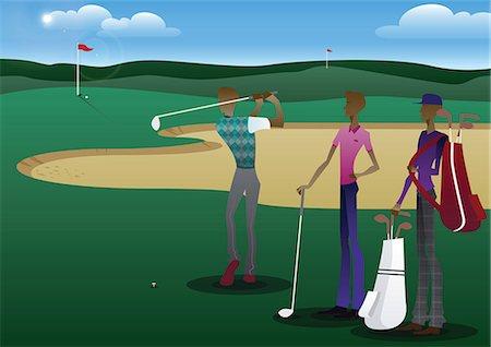 Three men playing golf Stock Photo - Premium Royalty-Free, Code: 630-06723669
