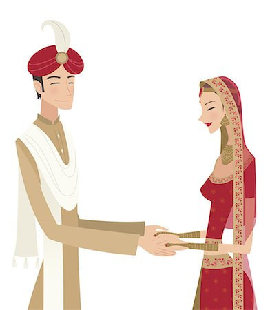 Indian bride and groom in traditional dress at wedding ceremony Stock Photo - Premium Royalty-Free, Code: 630-06723782
