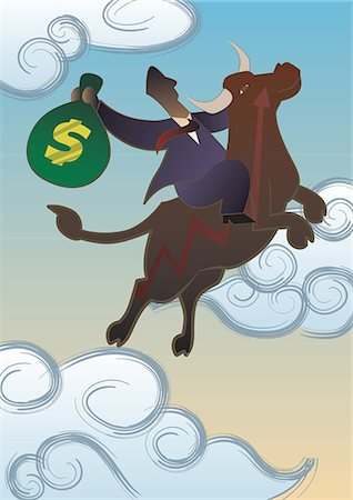 Businessman riding on a bull in the sky Stock Photo - Premium Royalty-Free, Code: 630-06723806