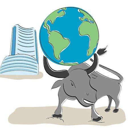 stock exchange building - Globe on bull's head with Bombay stock exchange building in the background Stock Photo - Premium Royalty-Free, Code: 630-06723825
