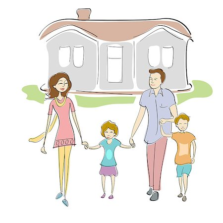 Family walking in front of a house Stock Photo - Premium Royalty-Free, Code: 630-06723838