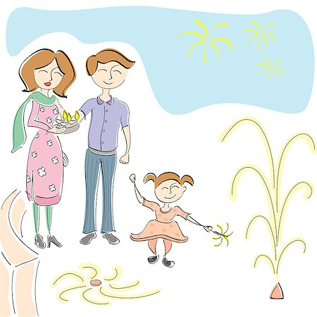 fireworks illustrations - Family celebrating Diwali Stock Photo - Premium Royalty-Free, Code: 630-06723840