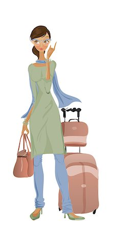 Businesswoman standing with luggage Stock Photo - Premium Royalty-Free, Code: 630-06723933