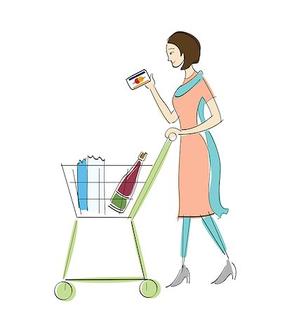 Woman holding a credit card and walking with a shopping cart Stock Photo - Premium Royalty-Free, Code: 630-06723943