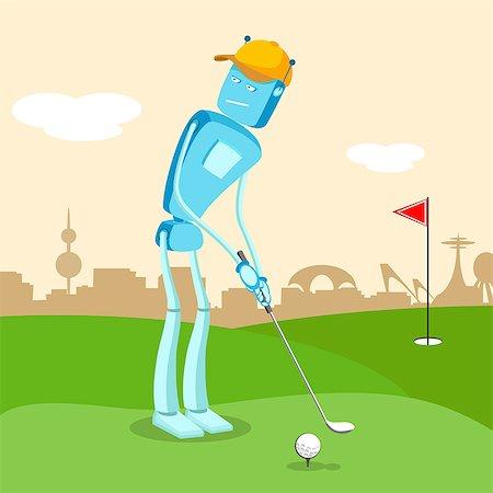 Robot playing golf Stock Photo - Premium Royalty-Free, Code: 630-06723978
