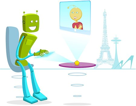 Robot chatting online Stock Photo - Premium Royalty-Free, Code: 630-06723981