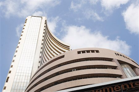 stock exchange building - Low angle view of a stock exchange building, Bombay Stock Exchange, Dalal Street, Mumbai, Maharashtra, India Stock Photo - Premium Royalty-Free, Code: 630-01708680