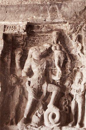 Statues of Hindu god carved in a cave, Ellora, Aurangabad, Maharashtra, India Stock Photo - Premium Royalty-Free, Code: 630-01708993