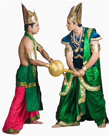 sad lovers break up - Two young men fighting in the character of Hindu epic Stock Photo - Premium Royalty-Free, Code: 630-03479560