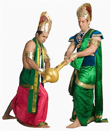 sad lovers break up - Two young men fighting in a character of Hindu epic Stock Photo - Premium Royalty-Free, Code: 630-03479561