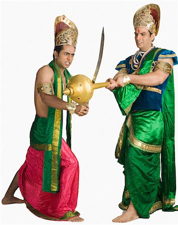 sad lovers break up - Two young men fighting in a character of Hindu epic Stock Photo - Premium Royalty-Free, Code: 630-03479563