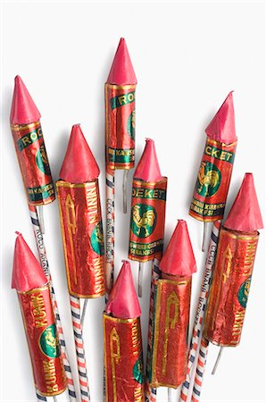 fireworks white background - Close-up of bottle rockets Stock Photo - Premium Royalty-Free, Code: 630-03480165