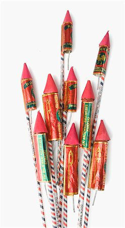 fireworks white background - Close-up of bottle rockets Stock Photo - Premium Royalty-Free, Code: 630-03480166
