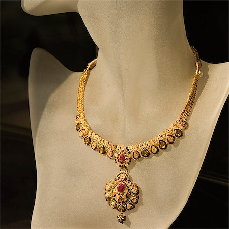 expensive jewelry - Necklace displaying on a mannequin, Delhi, India Stock Photo - Premium Royalty-Free, Code: 630-03480472