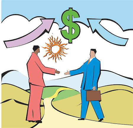 Businessmen shaking hands in front of dollar sign Stock Photo - Premium Royalty-Free, Code: 630-03481318