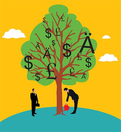 Businessman watering a money tree Stock Photo - Premium Royalty-Free, Code: 630-03481312