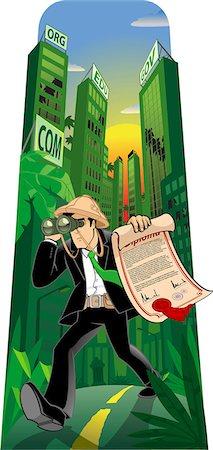 Man searching job with binoculars Stock Photo - Premium Royalty-Free, Code: 630-03481325