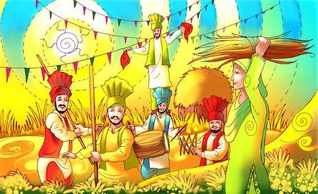 punjabi - People celebrating Baisakhi festival Stock Photo - Premium Royalty-Free, Code: 630-03481376